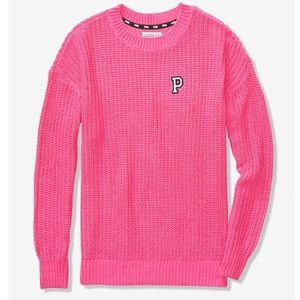 VS PINK Crew Pullover Chunky Knit Sweater M Pink